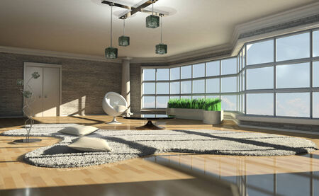carpet flooring: 3d illustration of a bright interior with large window Stock Photo