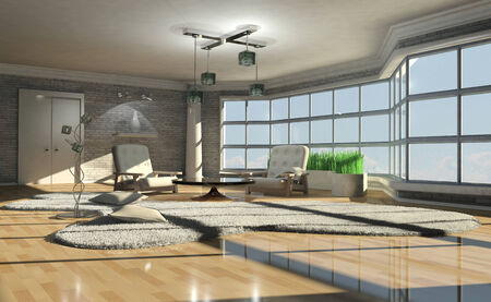 ceiling design: 3d illustration of a bright interior with large window Stock Photo