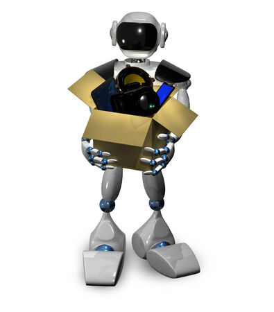 android tablet: 3d illustration of a robot with a box of gadgets