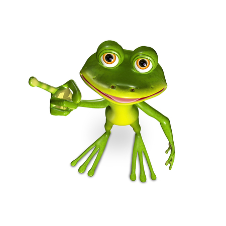3d illustration merry green frog with big eyes Imagens