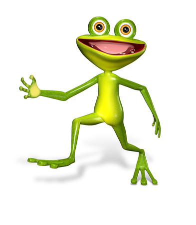 triton: 3d illustration merry green frog with big eyes Stock Photo