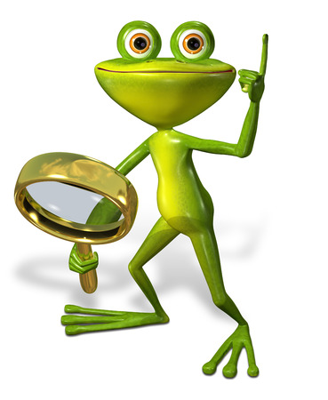 brooding: 3d illustration merry green frog with magnifying