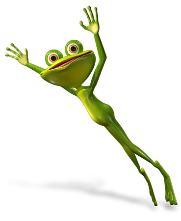 frog jump: 3d illustration merry green frog with big eyes Stock Photo