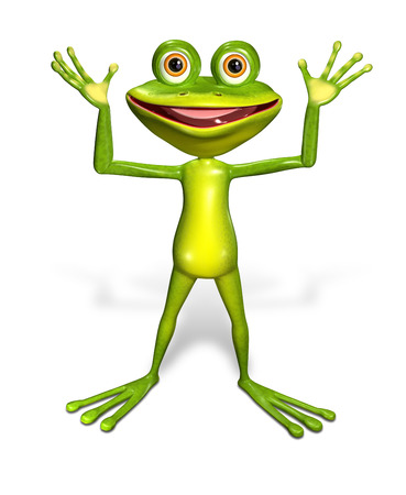 brooding: 3d illustration merry green frog with big eyes Stock Photo