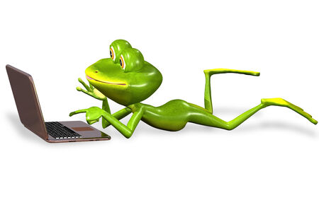 triton: 3d illustration merry green frog with notebook