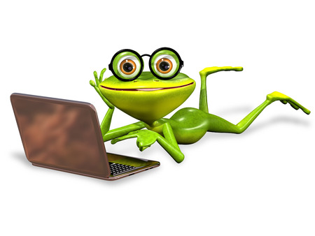 brooding: 3d illustration merry green frog with notebook
