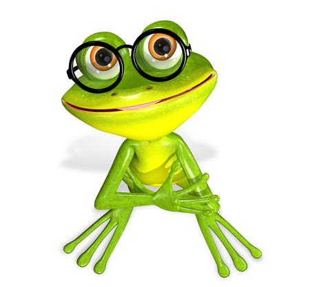 3d illustration merry green frog in the glasses Imagens