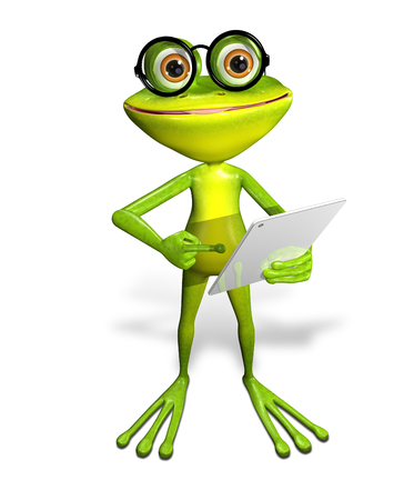 brooding: 3d illustration merry green frog with a tablet Stock Photo