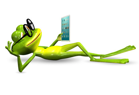triton: 3d illustration merry green frog with a tablet Stock Photo