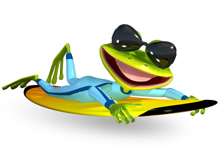 3d illustration merry green frog on a surfboard Imagens