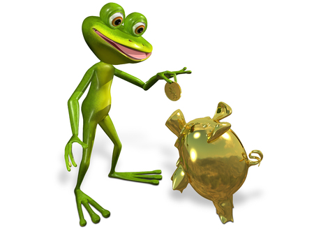 triton: illustration merry green frog with piggy bank