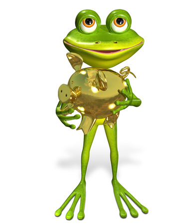 thrift: illustration merry green frog with piggy bank