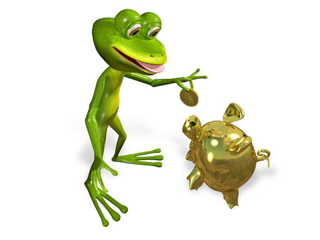 brooding: illustration merry green frog with piggy bank