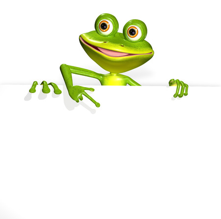 illustration merry green frog and white background illustration