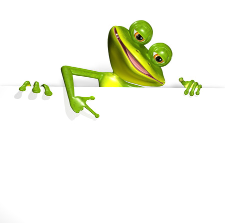 triton: illustration merry green frog and white background Stock Photo