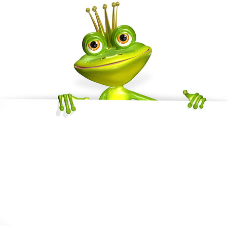 illustration merry green frog and white background Stock Photo