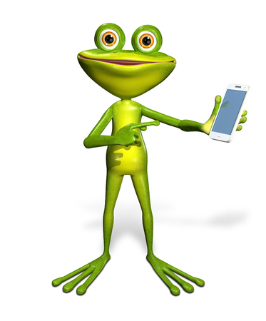 telephonic: abstract illustration of the green frog with a smartphone