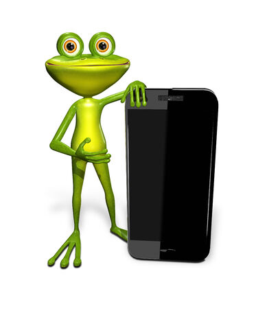 abstract illustration of the green frog with a smartphone