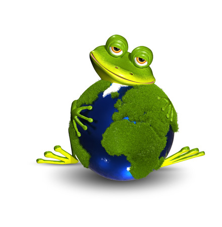 triton: illustration merry green frog and blue globe