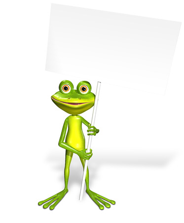 amphibious: abstract illustration of the green frog with a smartphone