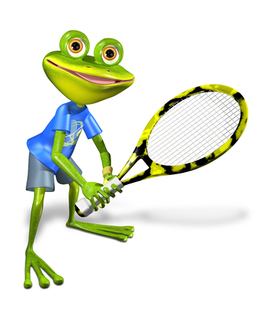 amphibious: illustration a merry green frog tennis player Stock Photo