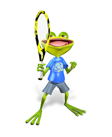 illustration a merry green frog tennis player illustration