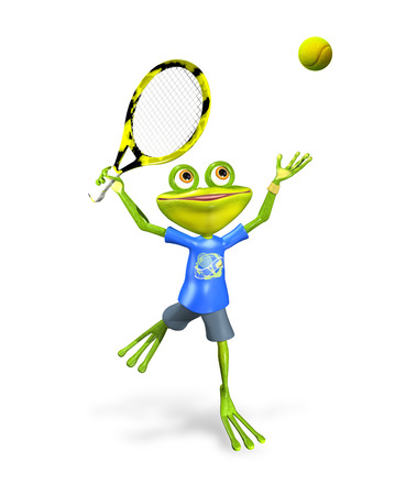 triton: illustration a merry green frog tennis player Stock Photo