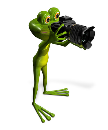 triton: illustration a merry green frog with a camera