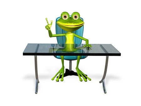 illustration a merry green frog at the table illustration
