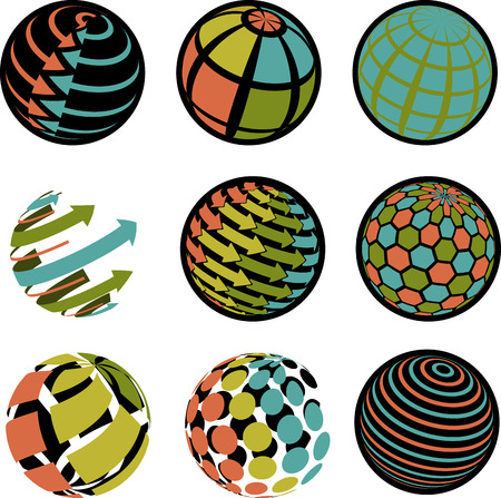 illustration of blue and green icons globe Vector