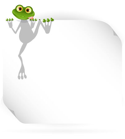 illustration merry green frog and white  Vector