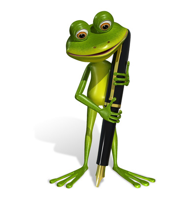 illustration curious frog with a fountain pen