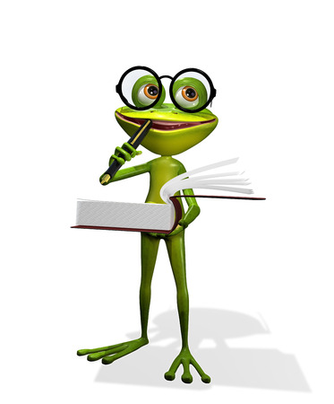 amphibious: illustration curious frog in glasses with a books