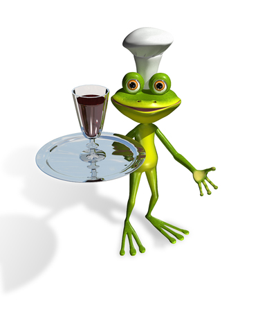 decorator: abstract illustration frog with a glass of wine on a tray