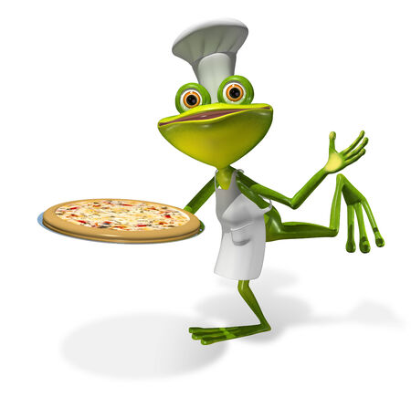 abstract illustration frog chef with a pizza illustration