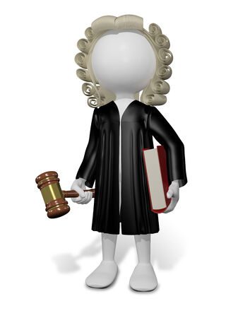 court proceedings: abstract illustration of a judge in a wig with a book
