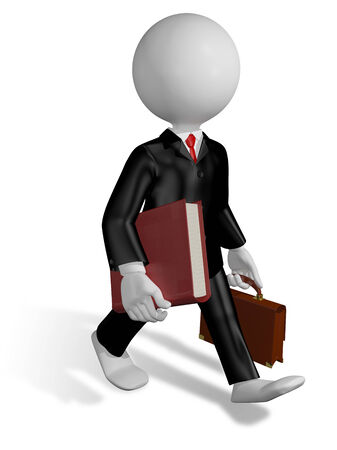 court proceedings: abstract illustration of a running lawyer with a book