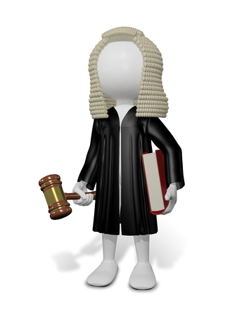 judge hammer: abstract illustration of a judge in a wig with a book