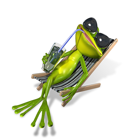 amphibious: green frog with a drink on a sun lounger