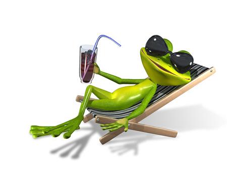 태양 안락에 음료와 함께 녹색 개구리 스톡 콘텐츠