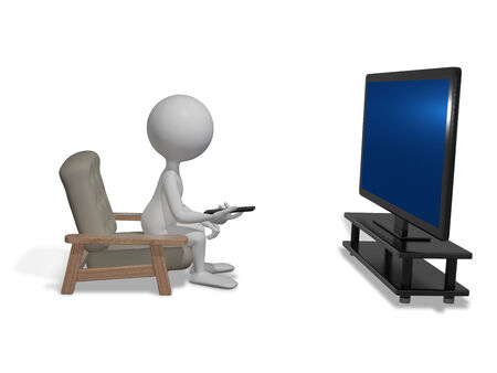 telecast: abstract illustration white man in front of TV Stock Photo