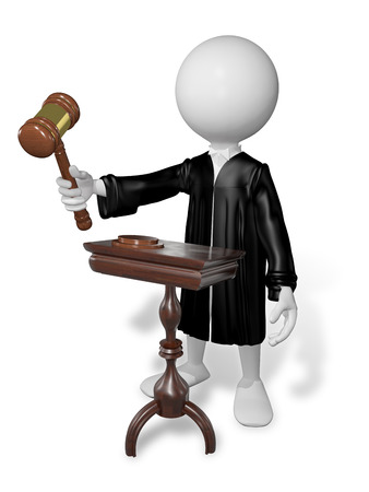 black wigs: abstract illustration of a judge with gavel at the table