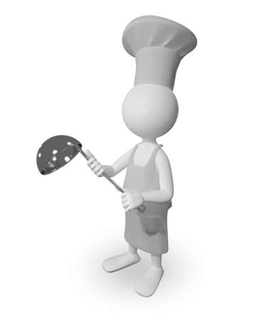 ladle: abstract illustration a cook with a ladle