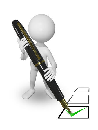 electing: illustration abstract white man with pen puts a tick Stock Photo