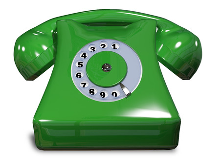 illustration of a green old phone on a white background