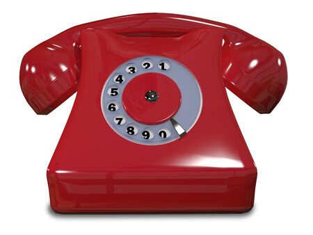 illustration of a red old phone on a white background