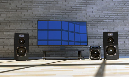 tv screen: illustration, modern black television set in the room Stock Photo