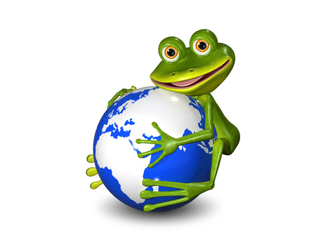 illustration merry green frog on a blue globe
