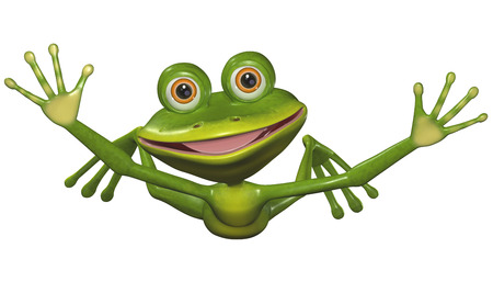 triton: illustration a merry green frog in flight