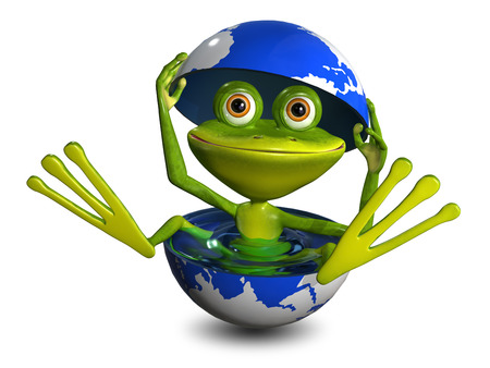 triton: illustration merry green frog in the globe with water